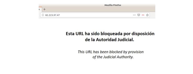 Mensaje de pagina bloqueada
